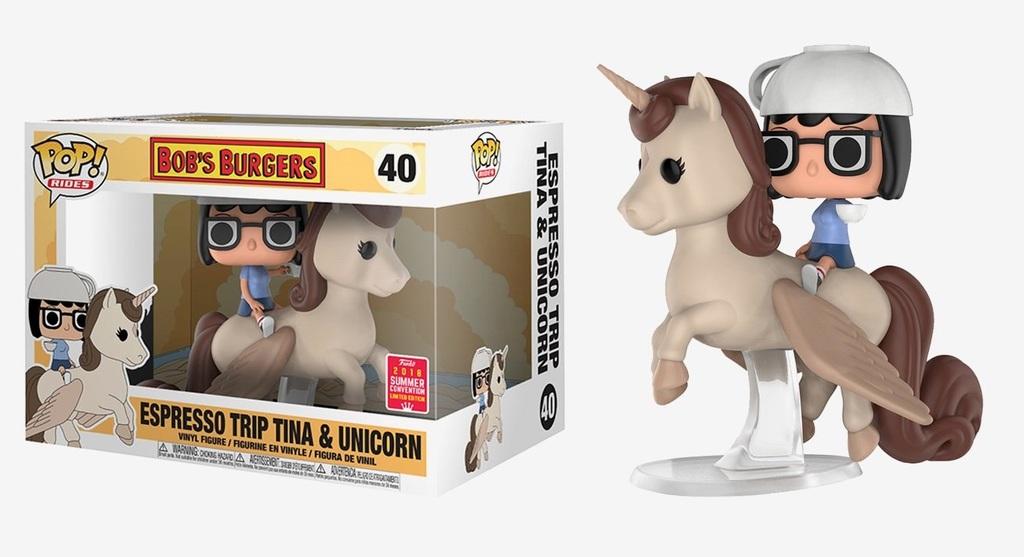 Bob's Burgers - Espresso Trip Tina & Unicorn Pop! Rides Vinyl Figure (2018 Summer Convention Exclusive)