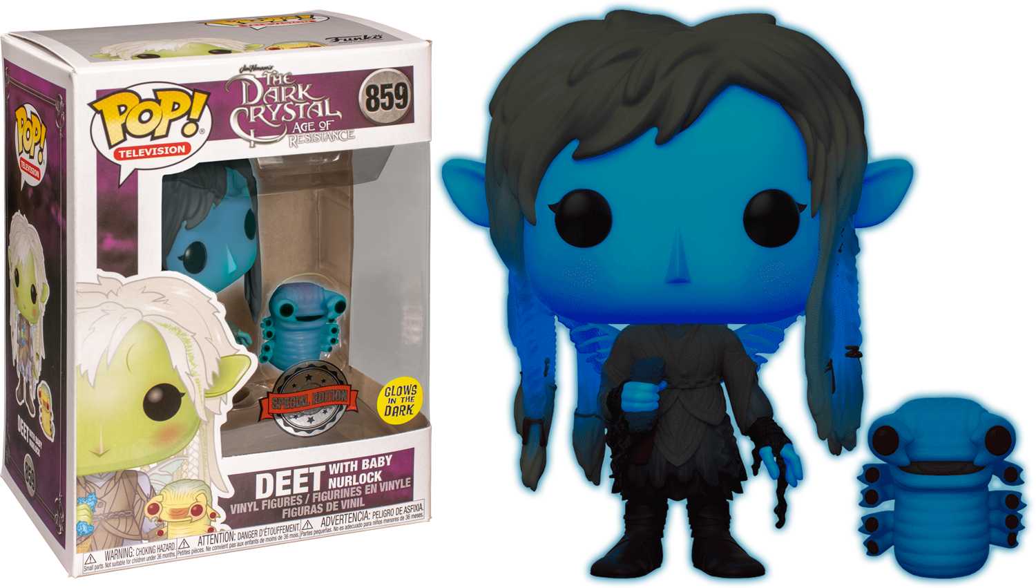 The Dark Crystal: Age of Resistance POP! TV Vinyl Figure Deet with baby Nurlock Blue Glow in the Dark Limited 9 cm