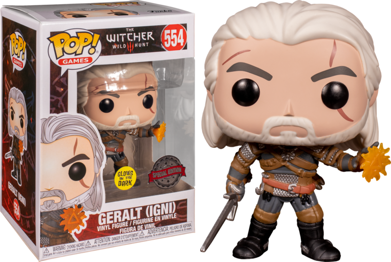 The Witcher 3: Wild Hunt POP! Games Vinyl Figure Geralt Igni Glow in the Dark Limited 9 cm