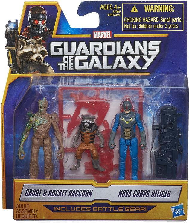 Guardians of the Galaxy Action Figure 2-Packs 6 cm Groot & Rocket Raccoon e Nova Corps Officer