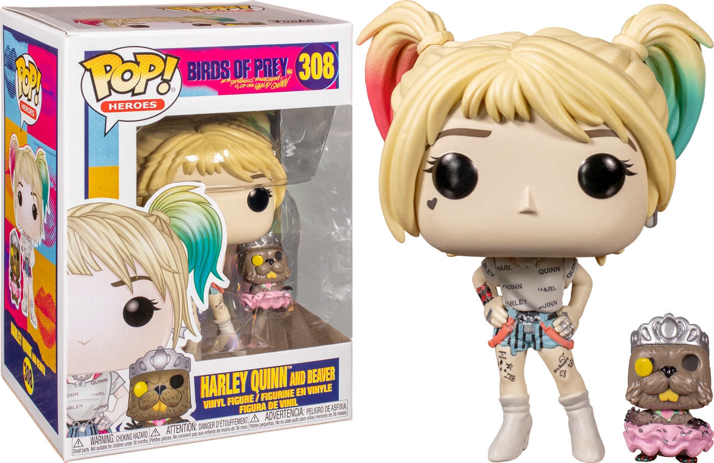 Birds of Prey POP! Heroes Vinyl Figure Harley Quinn & Beaver 9 cm