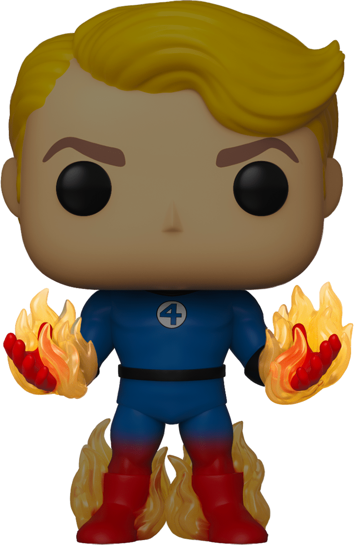 Fantastic Four POP! Marvel Vinyl Figure Human Torch with Flames Glow in The Dark Limited Edition 9 cm