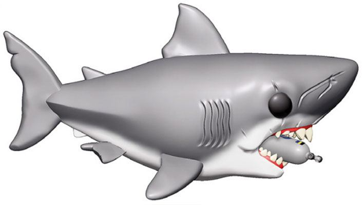 Jaws Oversized POP! Movies Vinyl Figure Jaws with Diving Tank 15 cm