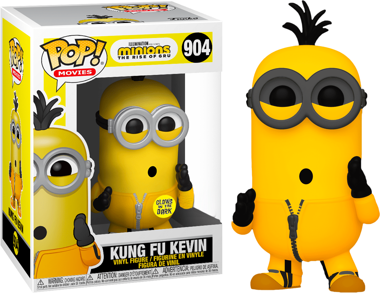 Minions II: The Rise of Gru POP! Movies Vinyl Figure Kung Fu Kevin Glow in the Dark 9 cm