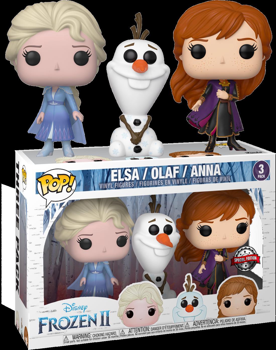 Frozen 2 POP! Disney Vinyl Figures 3-pack Anna, Elsa & Olaf Exclusive Edition 9 cm
