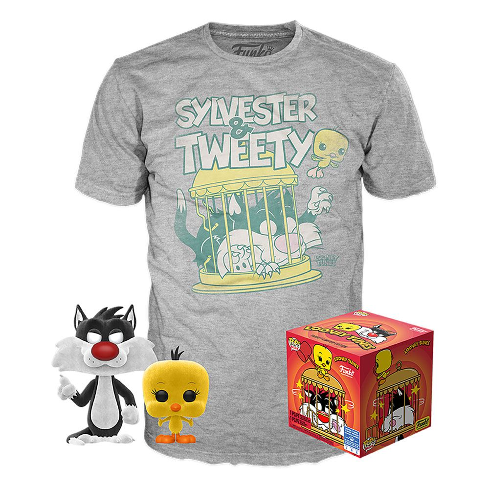 Looney Tunes POP! & Tee Box Sylvester & Tweety (Flocked)