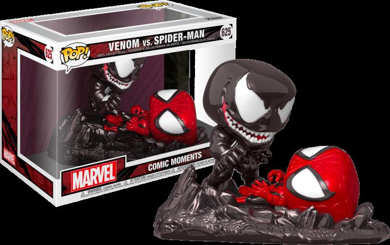 Spider-Man POP! Comic Moments Metallic Vinyl Figures 2-Pack Venom vs Spider-Man