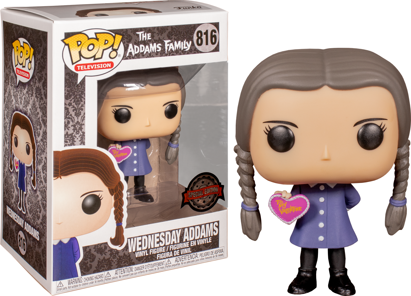 The Addams Family (2019) POP! Movies Vinyl Figure Wednesday Addams with Valentine's day Heart Limited 9 cm