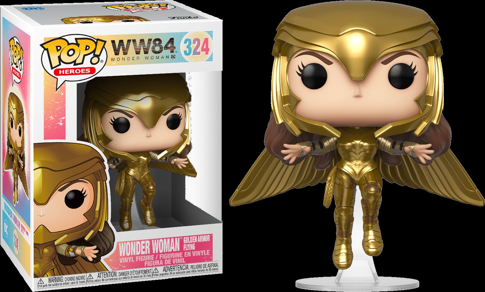Wonder Woman 1984 POP! Movies Vinyl Figure Wonder Woman Gold Armour Flying 9 cm