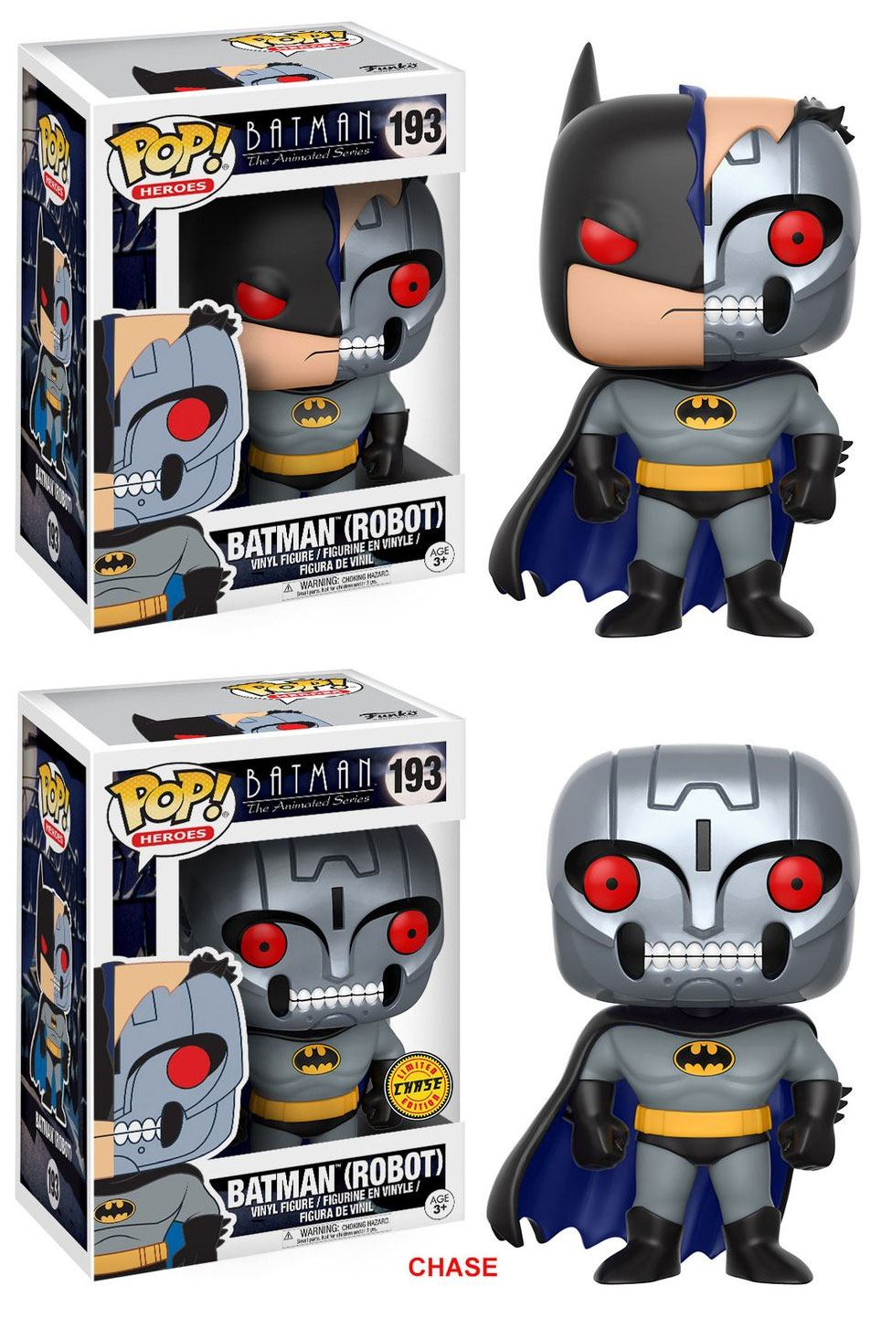 Batman The Animated Series POP! Heroes Vinyl Figures 9 cm Batman Robot Assortment (2)