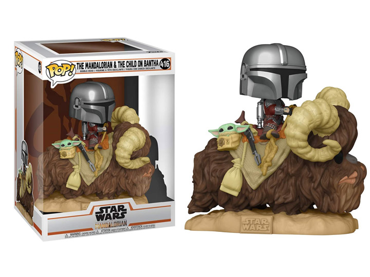 Star Wars The Mandalorian POP! Deluxe Vinyl Figure The Mandalorian on Bantha with Child in Bag 9 cm