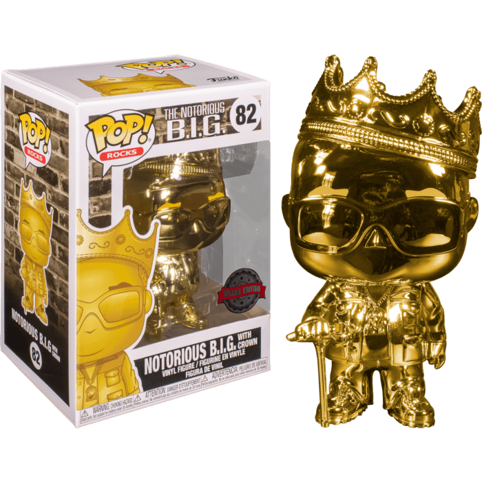 Notorious B.I.G. POP! Rocks Vinyl Figure Notorious with Crown Gold Chrome Limited 9 cm