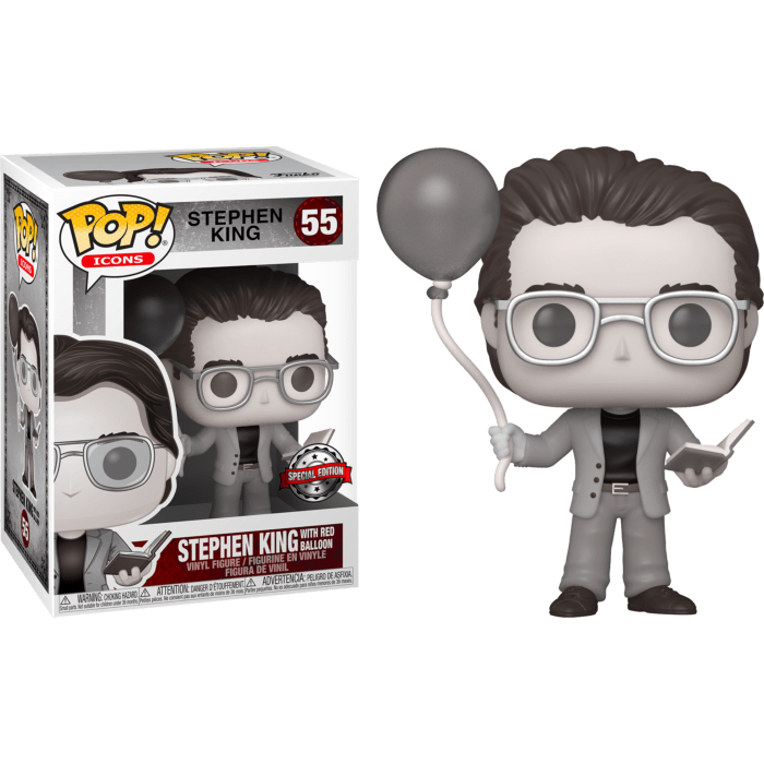 Stephen King POP! Icons Vinyl Figure Stephen King with Red Balloon Black & White Limited 9 cm