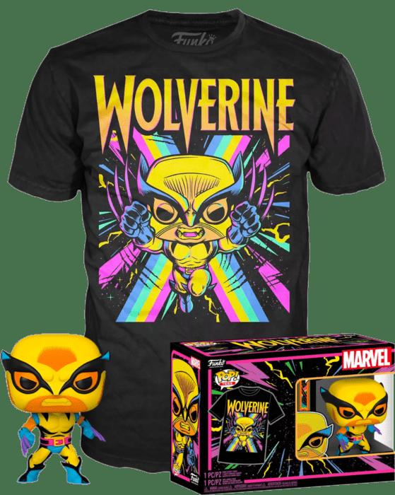 Marvel: Blacklight Pop! Box set Vinyl Figure & T-Shirt Wolverine Blacklight Limited 9 cm