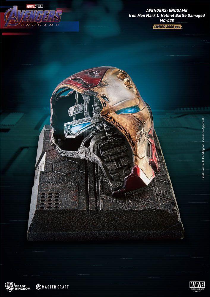 Avengers Endgame Master Craft Statue Iron Man Mark50 Helmet Battle Damaged 22 cm