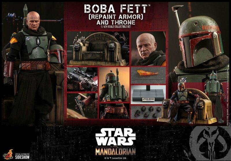 Star Wars The Mandalorian Action Figure 1/6 Boba Fett (Repaint Armor) and Throne 30 cm